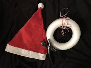 DIY kerstmannen krans - lint bevestigen