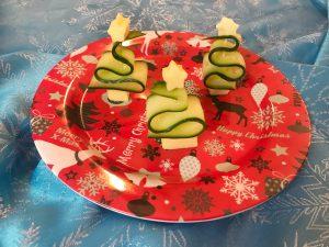 Kerstdiner op school - komkommer kerstboom