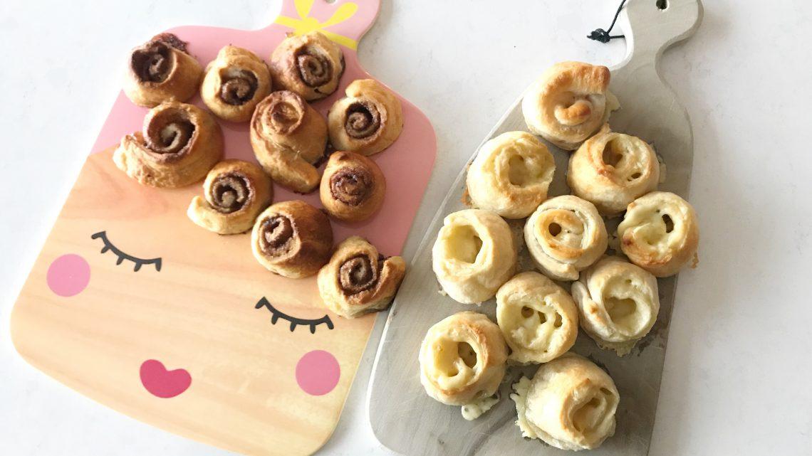 Handige hapjes: hartige en zoete rolletjes van croissantdeeg