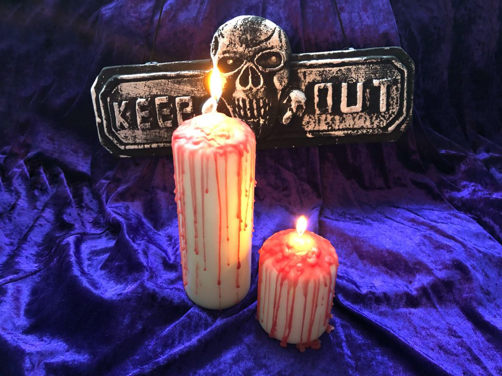 Easy halloween diy bloody drip candle