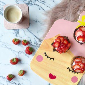gezonde havermout ontbijttaart aardbei afvallen