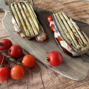 koolhydraatarme lunch - aubergine tosti