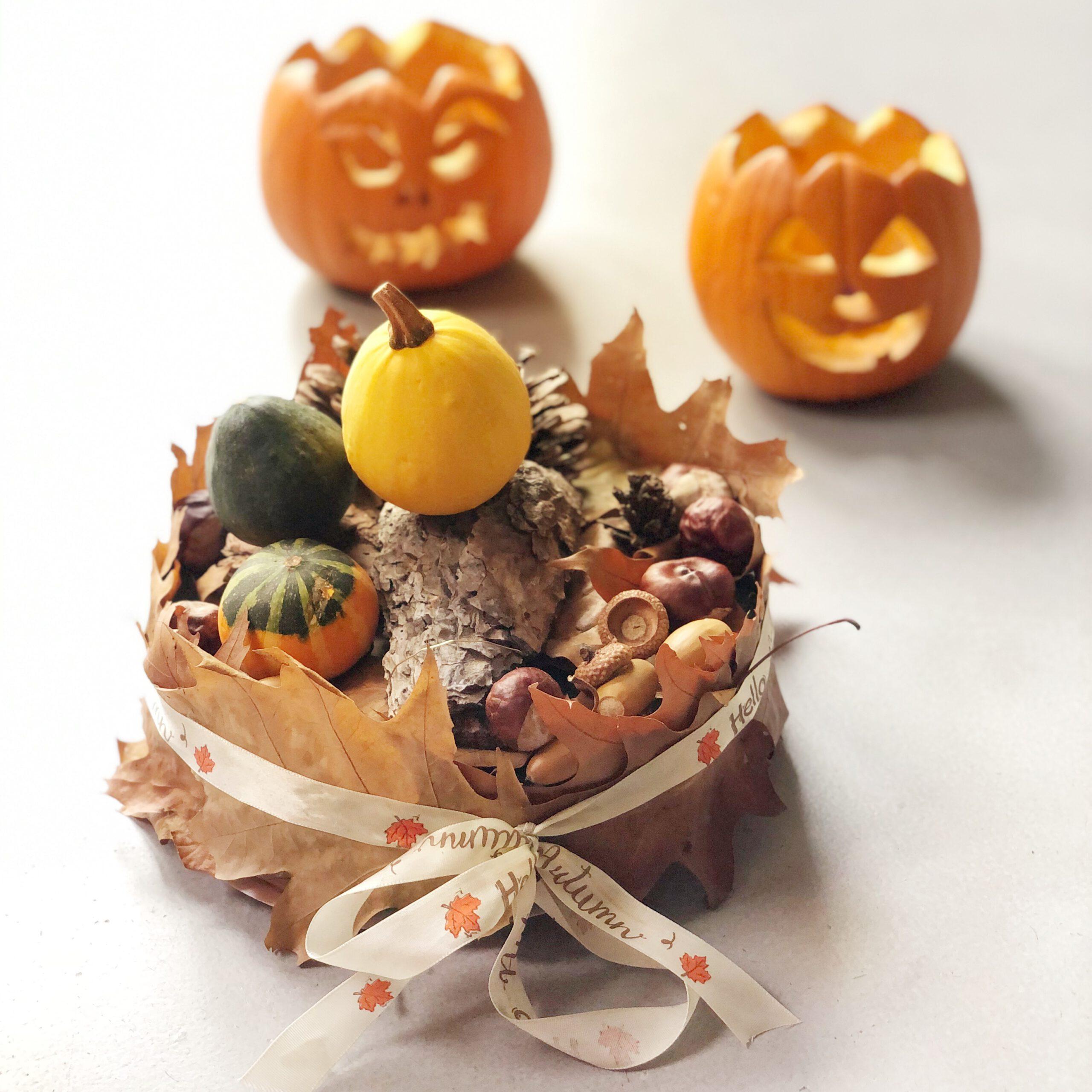 Decoratie herfst knutselen, maak een herfsttaart.