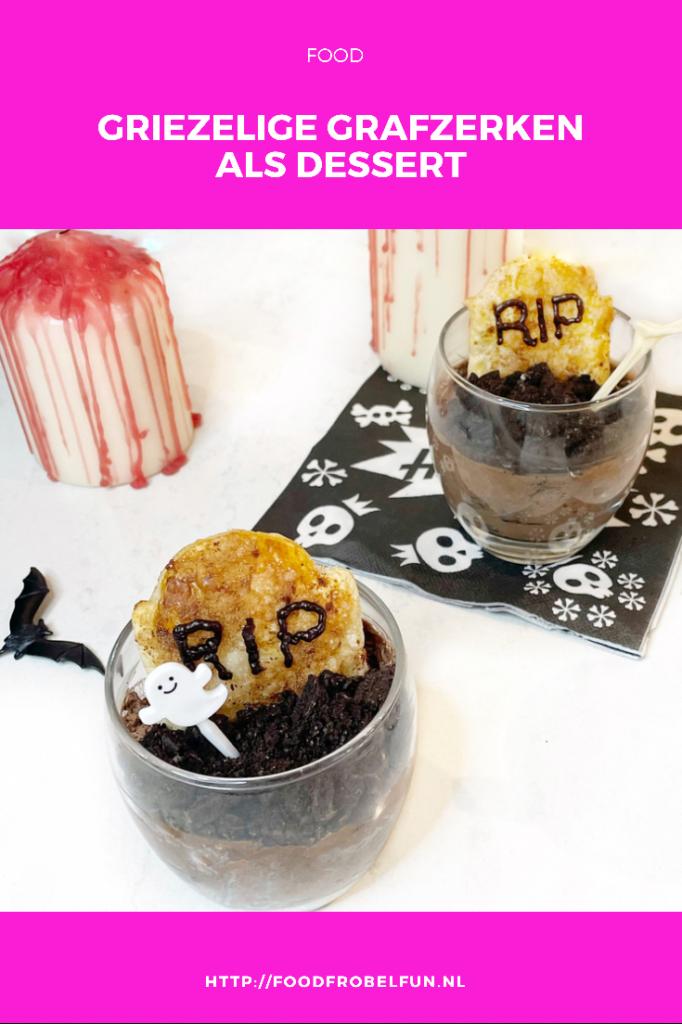 Halloween dessert, griezelige chocolademousse Pinterest.